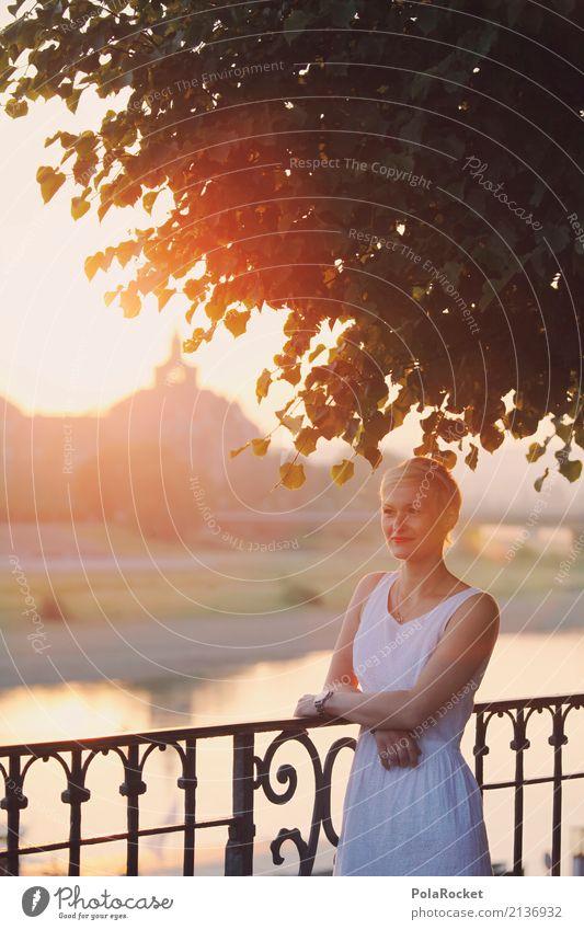 #A# Sunshine Art Esthetic Dresden Sunbeam Sunlight Summer Warmth Exterior shot Sunrise Handrail Woman Lean Dress Calm Idyll City trip Model Fashion