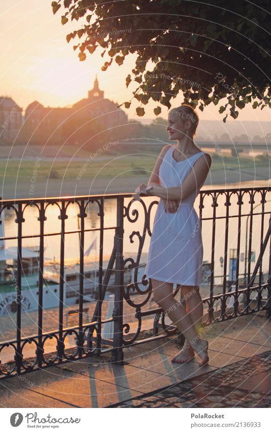 #A# Metropolitan romance Art Work of art Esthetic Woman Dresden Elbufer Steamer Romance Idyll Peaceful Morning Skyline Sun Sunbeam Handrail Lean Elbe Dress