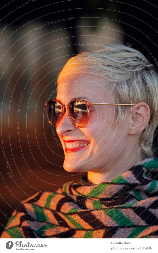 #A# Golden Face 1 Human being Esthetic Laughter Smiling Sunglasses Woman Face of a woman Friendliness Sunbeam Visual spectacle Model Fashion Colour photo