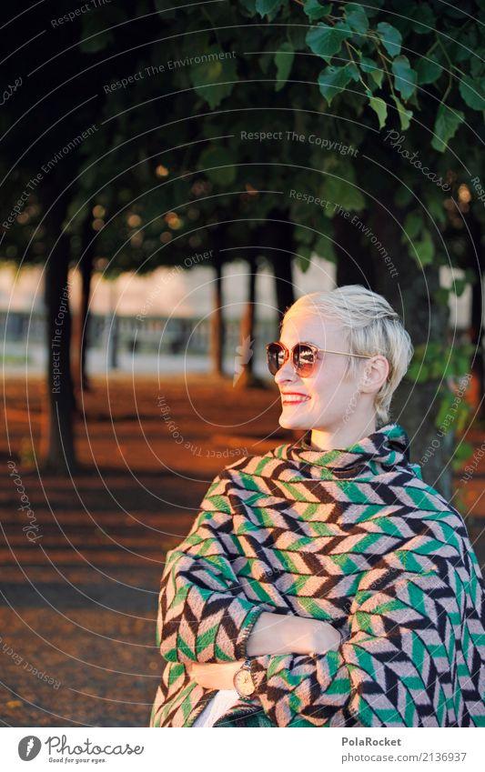 #A# Smile Art Work of art Esthetic Sunglasses Sunbeam Cape Blanket Tree Avenue Park Brühlsche Terrasse Laughter Fashion Colour photo Subdued colour