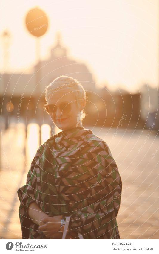 #A# Fashion Lifestyle Shopping Elegant Style Joy Leisure and hobbies Esthetic Dresden Gold Woman Sunglasses Bridge Sunrise Blonde Model Manikin Colour photo