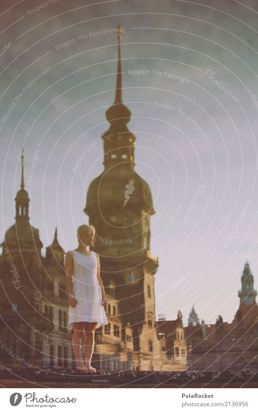 #A# Dresden City Hall Art Esthetic Reflection City hall Baroque Dress Old town Tower Surface of water Woman Girl Surrealism Dream Gorgeous Dream world
