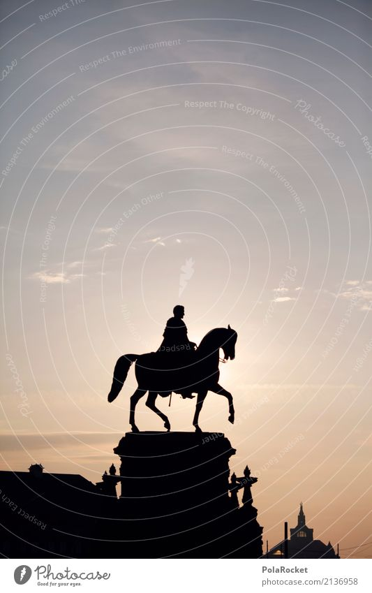 #A# Bright rider Art Work of art Esthetic Statue Knight Swallowtails & apollos Knight statue Rider Riding stable Horseman's Festival Silhouette Dresden Sky
