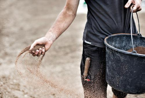 Gardener distributes seeds by hand Contentment House building Gardening Market garden Construction site Economy Agriculture Forestry Hand Environment Earth