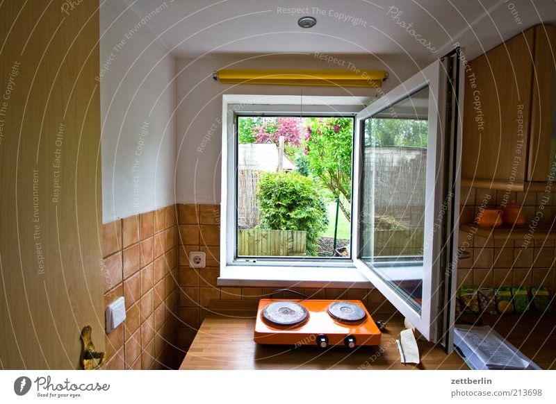 Window Garden Air Brown Flat (apartment) Open Kitchen Living or residing Tile Vista Detail Ventilate View from a window Hot plate