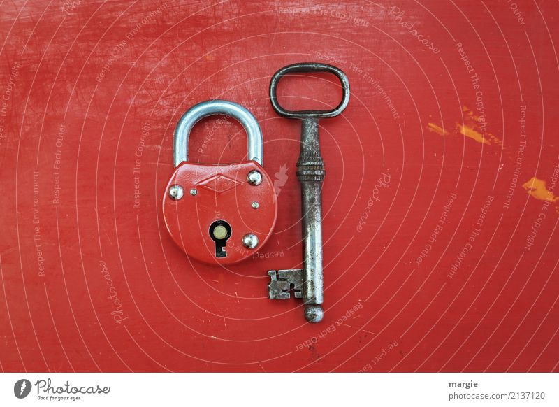 Unequal pair II Work and employment Profession Craftsperson Services Tool Technology Red Silver Safety Security force Lock Door lock Padlock Key Old Crucifix