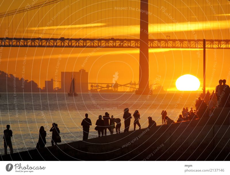 Sunset Lisbon Vacation & Travel Tourism Adventure Far-off places Freedom Sightseeing City trip Summer Summer vacation Ocean Human being Sky Sunrise Sunlight