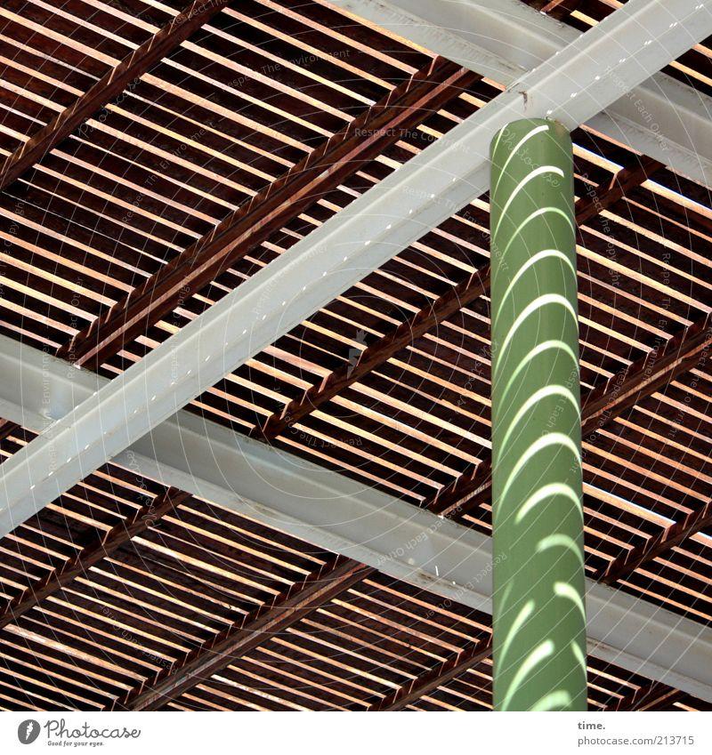 sun protection Column Light Shadow Disk Wood Sun Weather protection Architecture Prop Metal Metalware metal strut Parallel Diagonal Symmetry Green Brown Gray