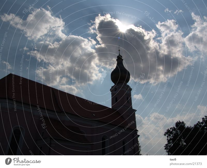 Church contours Silhouette Clouds Architecture Religion and faith Sky Sun Shadow Tower