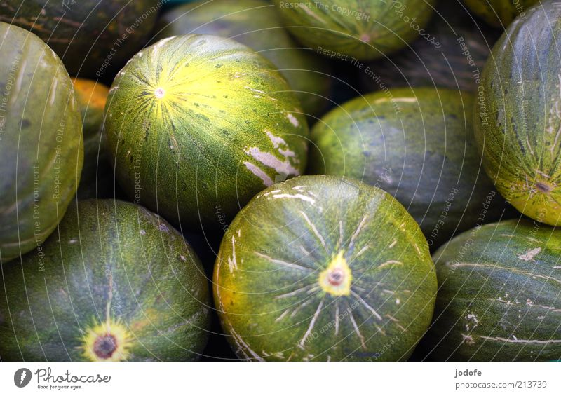 honeydew melons Food Fruit Round Yellow Green Melon Markets Many Multiple Colour photo Subdued colour Multicoloured Exterior shot Deserted Day