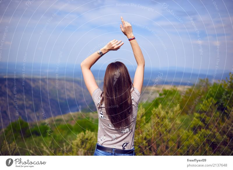 Girl dancing in the nature Human being Sky Nature Vacation & Travel Youth (Young adults) Plant Young woman Summer Landscape Clouds Joy 18 - 30 years Mountain