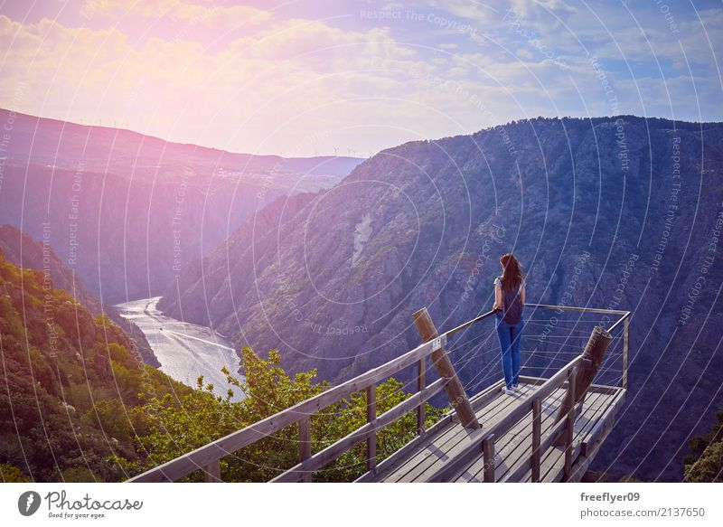 Girl looking at the landscape on a balcony Relaxation Vacation & Travel Tourism Trip Adventure Far-off places Expedition Summer Summer vacation Mountain Hiking