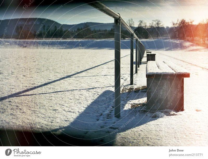 White Winter Snow Empty Break Transience Idyll Illuminate Analog Past Handrail Snowscape Beautiful weather Stagnating Glow Untouched
