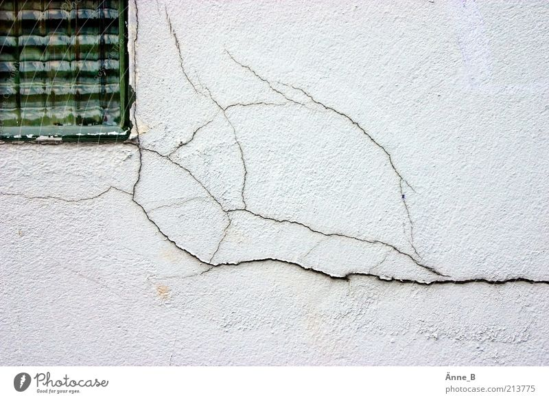 The plaster is crumbling House (Residential Structure) Craft (trade) Construction site Deserted Detached house Ruin Building Facade Window Stone Concrete Glass
