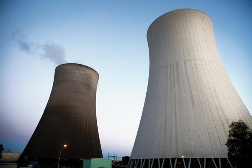 Nuclear power? - No, thanks. Energy industry Nuclear Power Plant Cloudless sky Summer Philippsburg Cooling tower Threat Gigantic Tall Blue Gray Concern