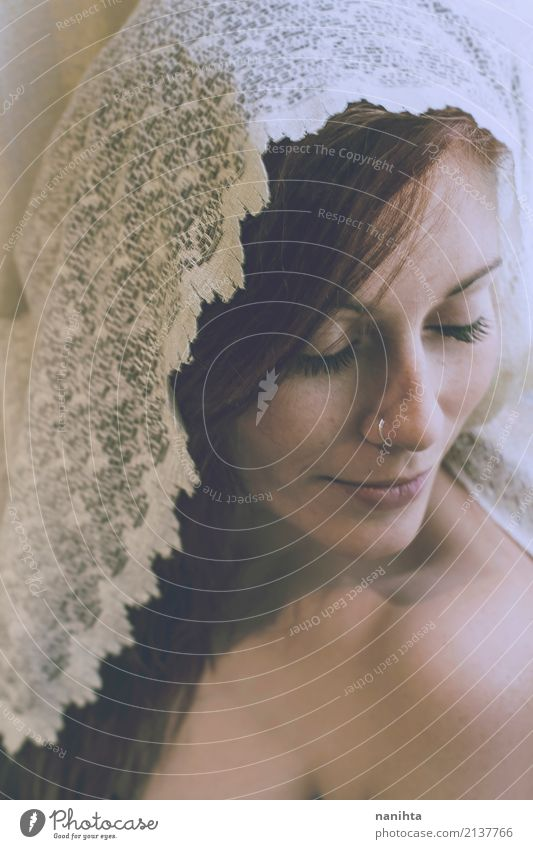 Young beautiful woman covered by lace Style Beautiful Freckles Relaxation Meditation Human being Feminine Young woman Youth (Young adults) 1 18 - 30 years