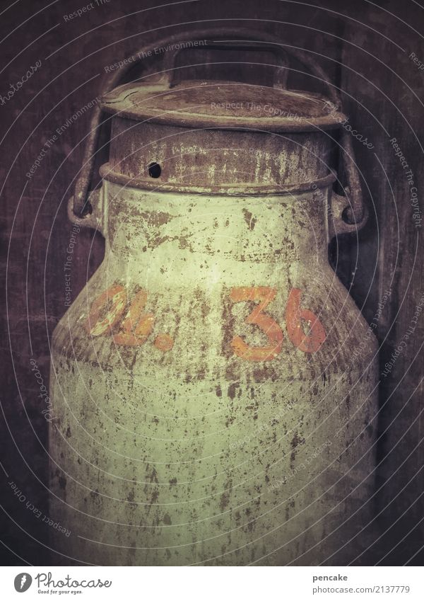 no milk today Food Nutrition Beverage Milk Environment Authentic Dark Broken Natural Original Retro Milk churn Rust 36 Transience Farm Cowshed Colour photo