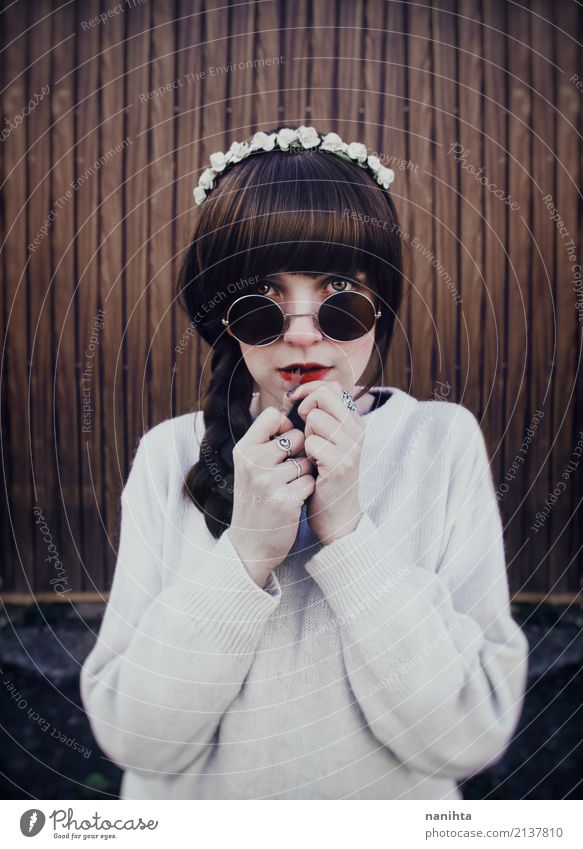 Young hippie woman with sunglasses Human being Feminine Youth (Young adults) 1 18 - 30 years Adults Fashion Sweater Ring Sunglasses Headband Brunette