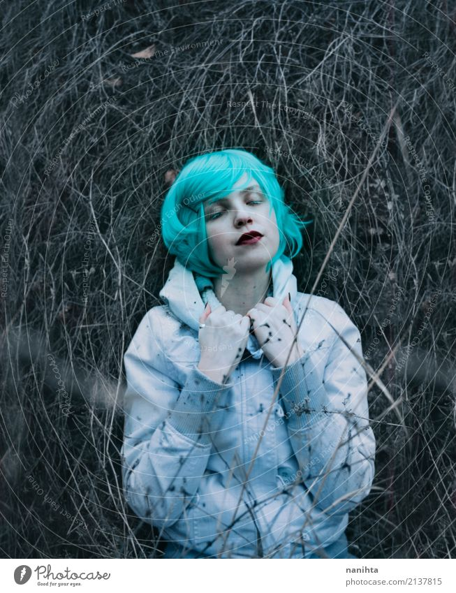 Young lost woman lying on dried branches Human being Nature Youth (Young adults) Plant Young woman Beautiful White Loneliness Winter 18 - 30 years Dark Adults