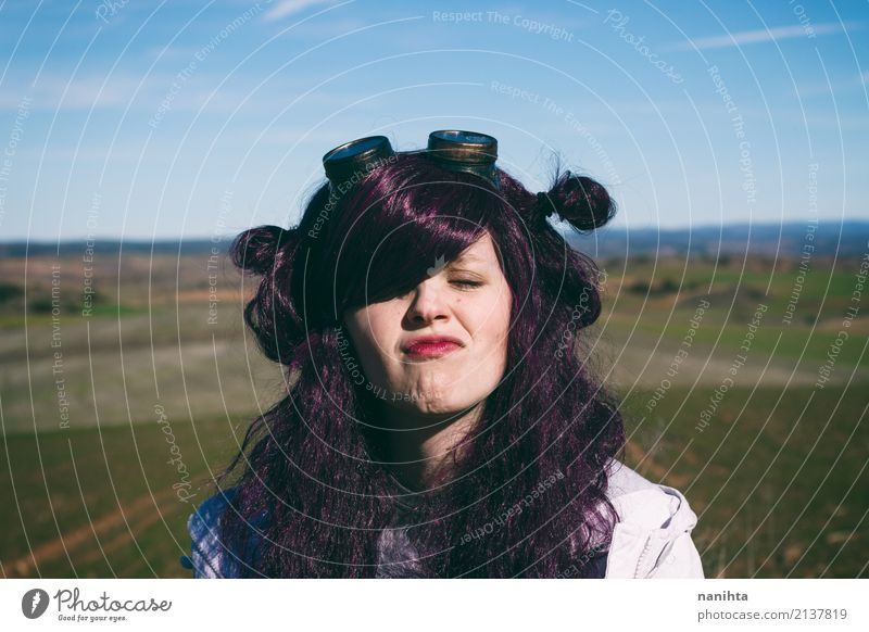 Young woman with purple hair making a funny face Human being Sky Nature Vacation & Travel Youth (Young adults) Landscape 18 - 30 years Adults Lifestyle Funny