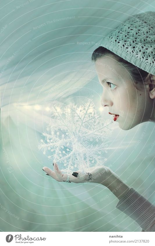 Young woman holding a decorative snowflake Human being Youth (Young adults) Christmas & Advent Beautiful White Winter 18 - 30 years Adults Cold Feminine Snow
