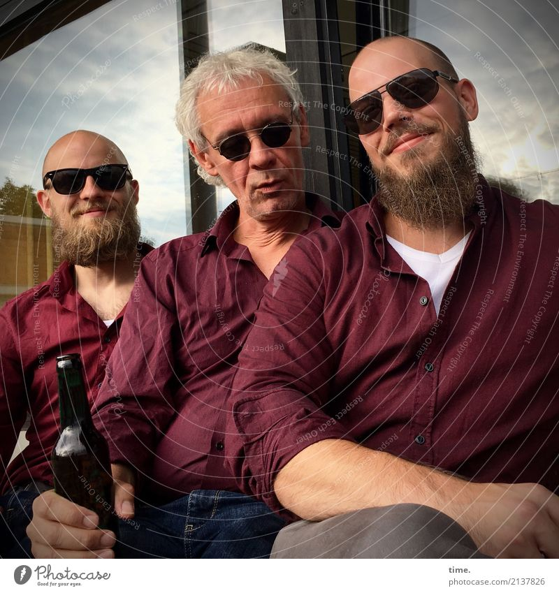 Sound to sound. Sound to sound. Bottle Masculine Man Adults 3 Human being Window Shirt Sunglasses Blonde Gray-haired Beard Observe To hold on Looking Sit