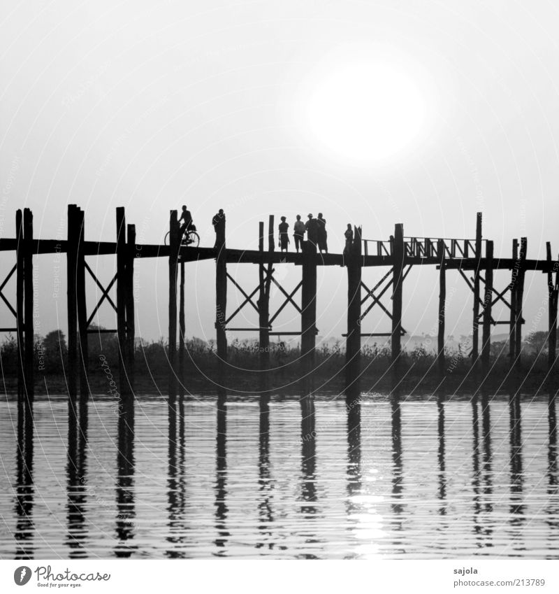 Building bridges Cycling Human being Group Environment Landscape Amarapura Myanmar Asia Bridge Wooden bridge Driving Going Looking Esthetic Emotions Moody