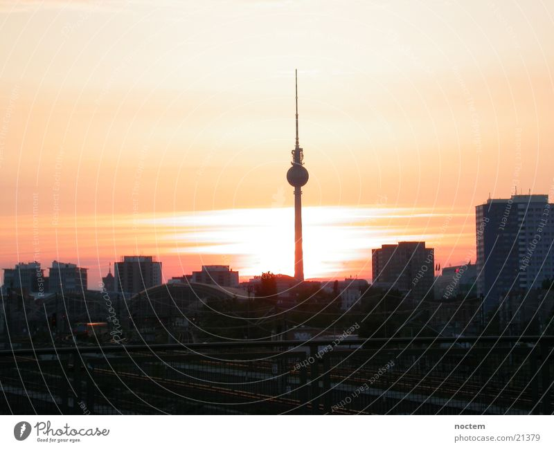 Berlin Sunset Kreuzberg Town Europe Berlin TV Tower Evening