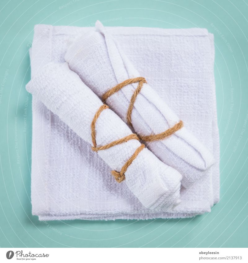 Rolled up white spa towels, selective focus Blue White Relaxation Natural Design Bright Fresh Vantage point Soft Clean Wellness New Bathroom Hotel Cloth Luxury