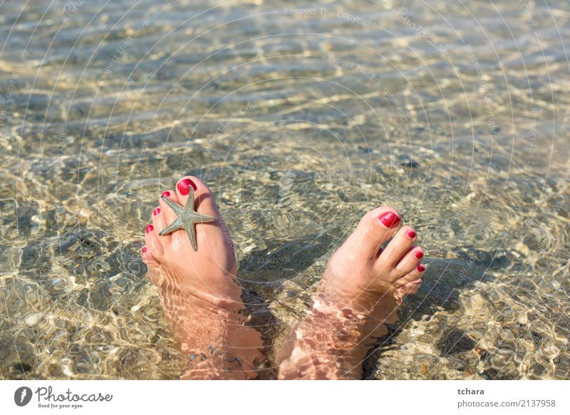 Summer relax Design Exotic Nail polish Relaxation Vacation & Travel Beach Ocean Decoration Wallpaper Woman Adults Feet Nature Sand Natural Blue Colour Idyll