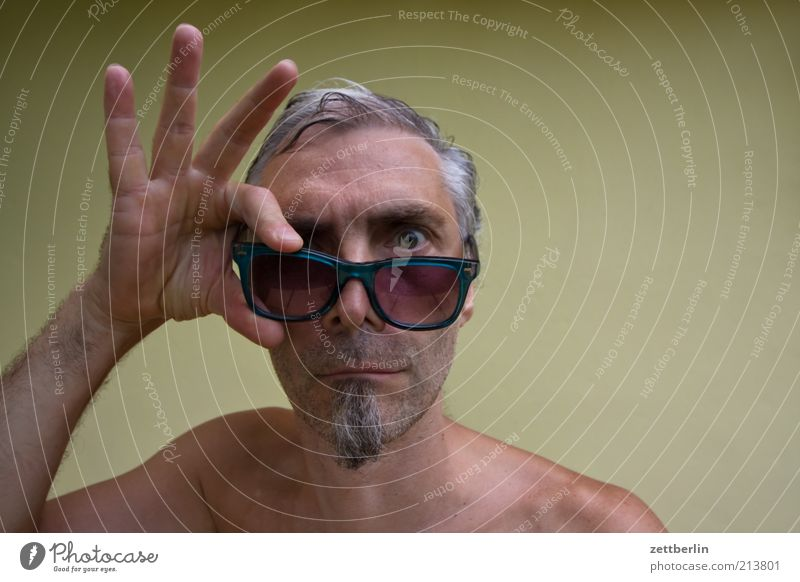 view into the camera Man Adults Face Facial hair 45 - 60 years Eyeglasses Sunglasses Gray-haired Short-haired Part Whimsical Amazed Goatee Marvel Skeptical