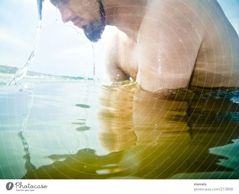 Human being Man Youth (Young adults) Water Vacation & Travel Summer Joy Adults Face Cold Life Lake Swimming & Bathing Masculine Drops of water Young man