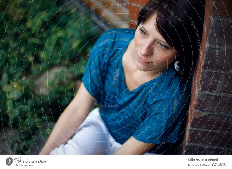 Woman Human being Youth (Young adults) Beautiful Blue Calm Loneliness Feminine Emotions Dream Think Contentment Wait Adults