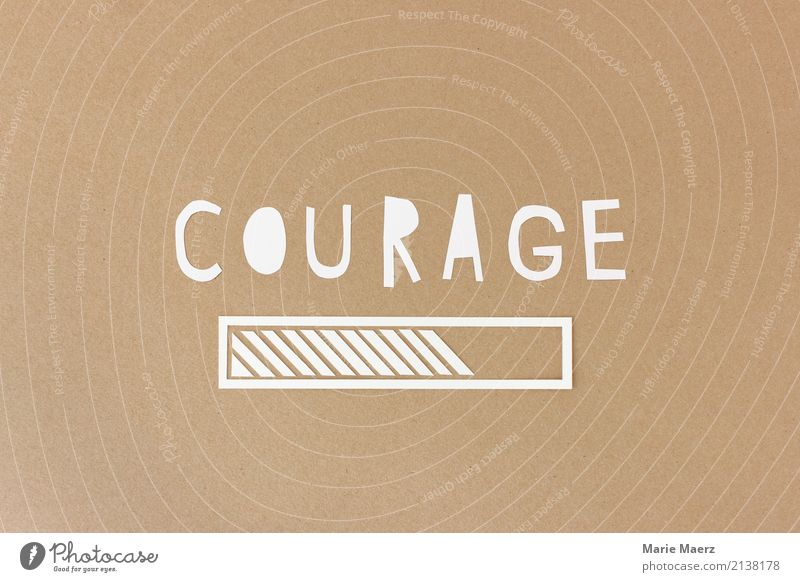 Courage loading - loading beams made of paper Business Career Success Modern Positive Brown Power Willpower Brave Advancement Growth Change Target Future Motive