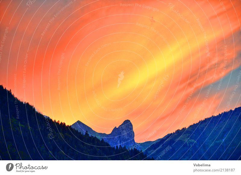 Evening at Schoppernau, Vorarlberg Landscape Sky Clouds Mountain Peak Blue Multicoloured Yellow Gold Orange Pink Red Black Colour photo Exterior shot