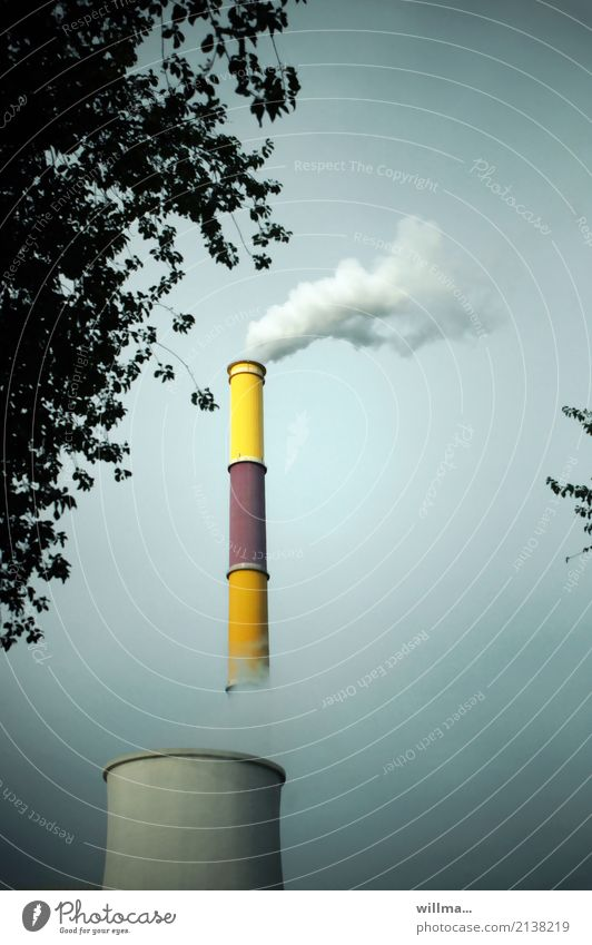 Smoking chimney Energy industry Thermal power station cooling tower District heating system Electricity Chemnitz Smoke Steam Climate change Chimney Tall Painted