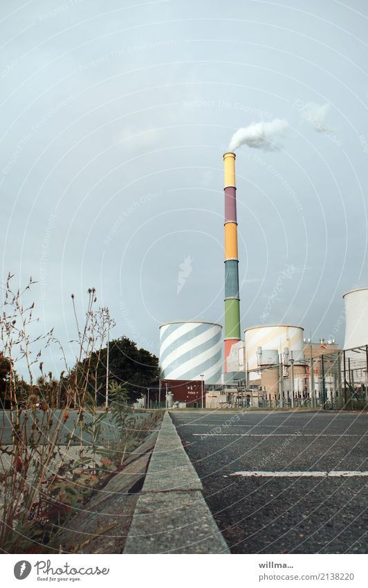 thermal power station Industry Energy industry Industrial plant Thermal power station Chimney Tall District heating system Electricity Painted Multicoloured