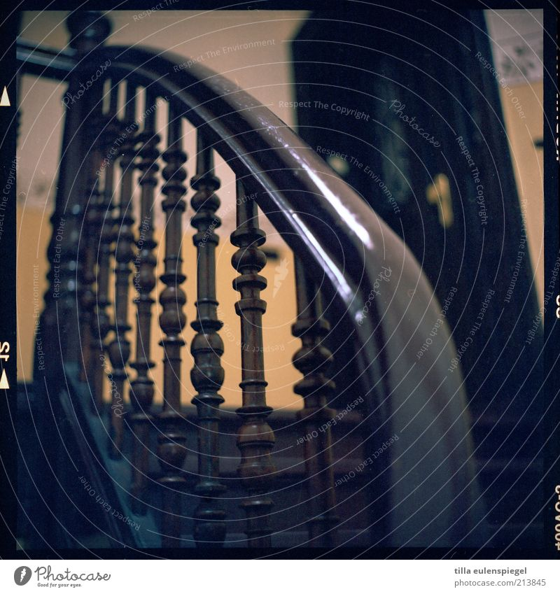 now geht´s up Building Stairs Door Brown Yellow Banister Analog Medium format Upward Staircase (Hallway) Colour photo Worm's-eye view Interior shot Wood