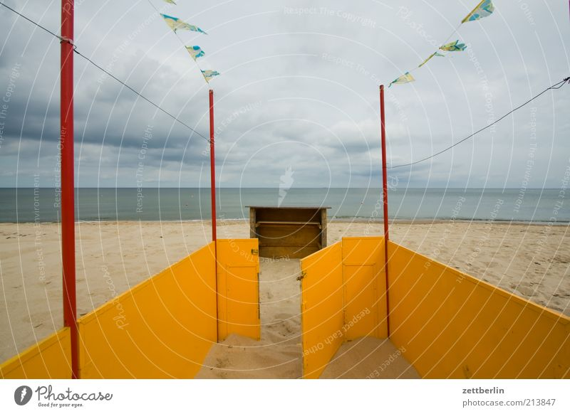 Ocean Beach Vacation & Travel Loneliness Far-off places Relaxation Sand Coast Door Wind Horizon Tourism Open Flag Longing Gate