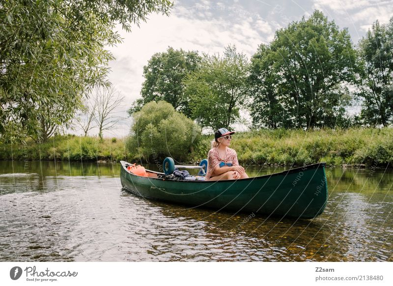 sat on Vacation & Travel Trip Adventure Expedition Summer vacation Canoe trip Young woman Youth (Young adults) 18 - 30 years Adults Nature Landscape Water