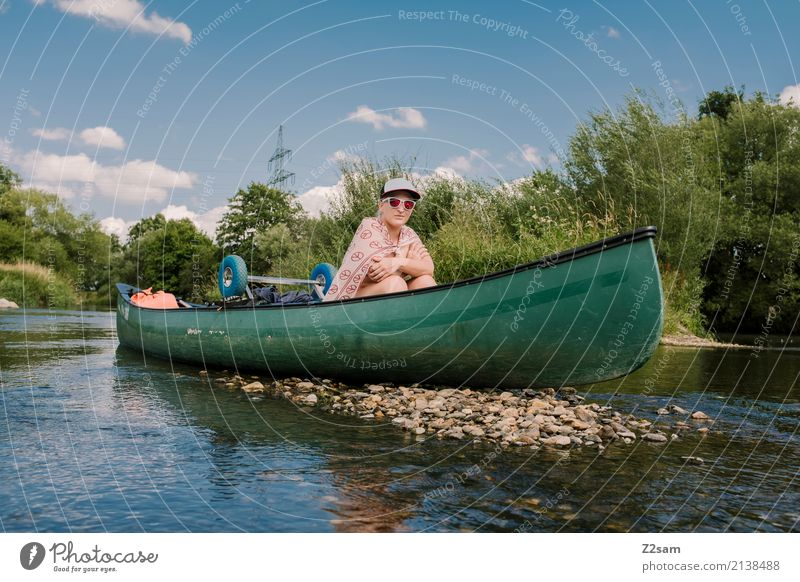 accrued Leisure and hobbies Vacation & Travel Adventure Summer vacation Canoe trip Young woman Youth (Young adults) 18 - 30 years Adults Environment Nature