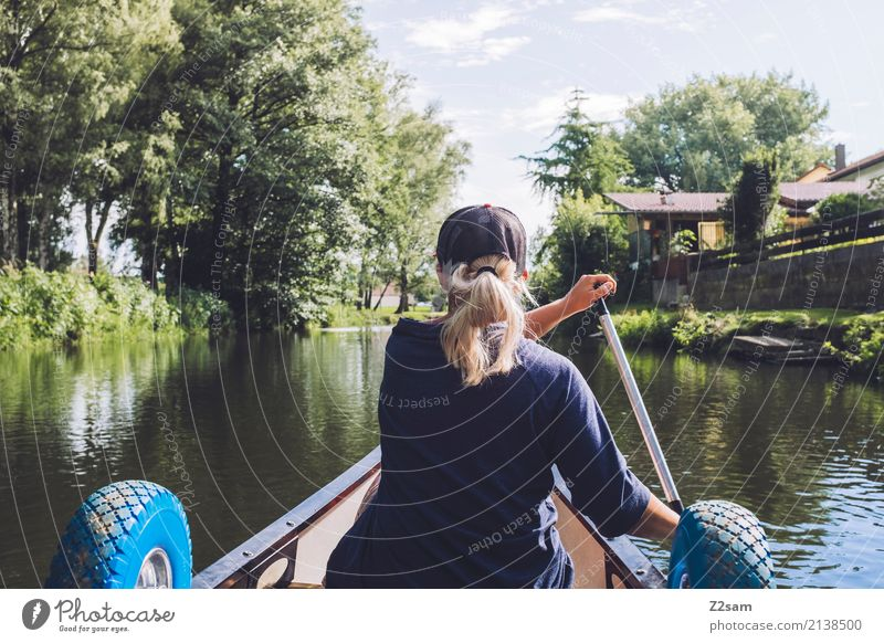Let's go to town Lifestyle Leisure and hobbies Vacation & Travel Adventure Freedom Canoe Young woman Youth (Young adults) 18 - 30 years Adults Nature Landscape