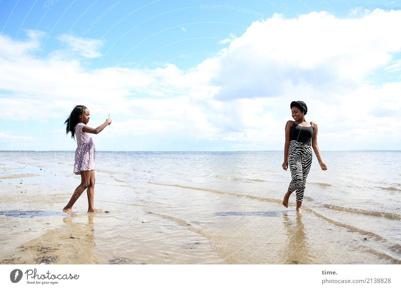 Woman Human being Sky Water Clouds Joy Beach Adults Life Lanes & trails Coast Feminine Together Friendship Waves Stand