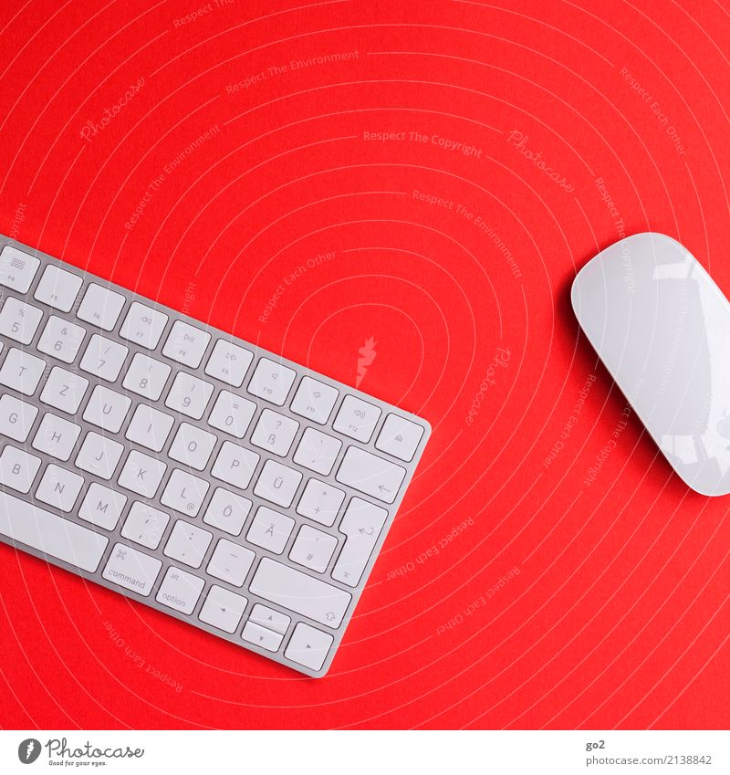 Keyboard and mouse on red background School Academic studies Work and employment Profession Office work Workplace Media industry Advertising Industry Business