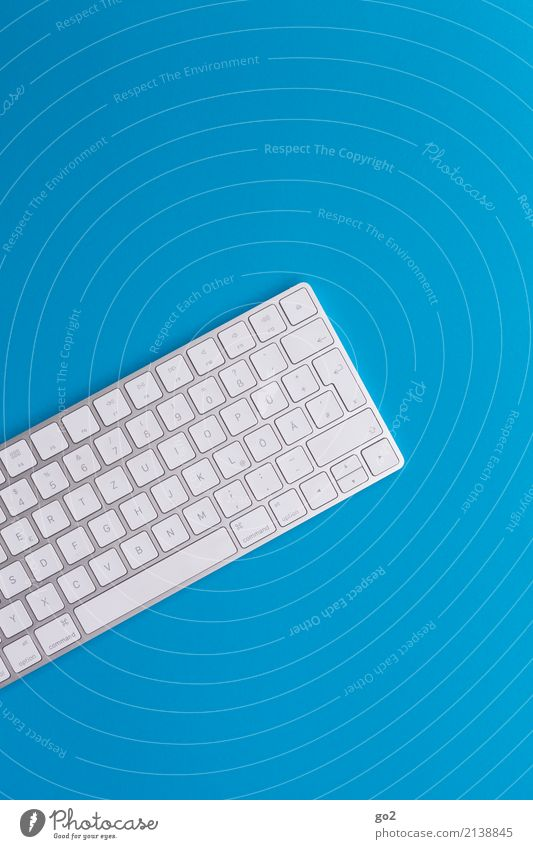 Keyboard on blue background Education School Professional training Academic studies Office work Workplace Media industry Advertising Industry Computer Hardware