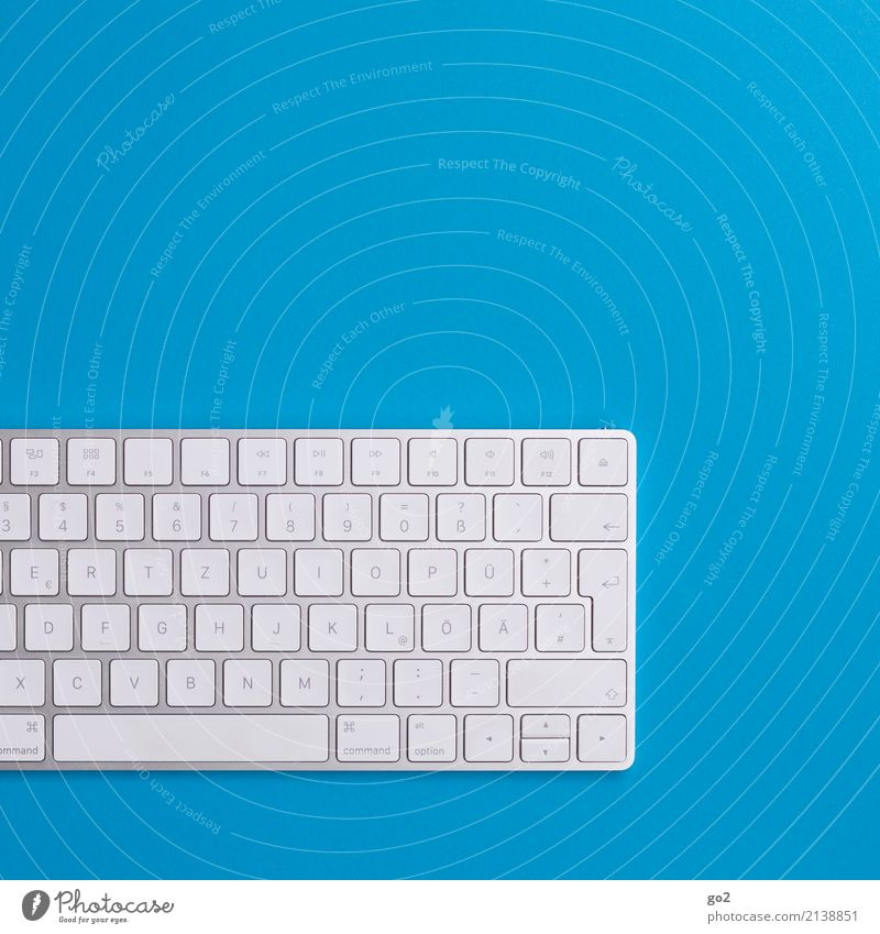 Keyboard on blue background Computer games School Study Academic studies Work and employment Profession Office work Workplace Media industry