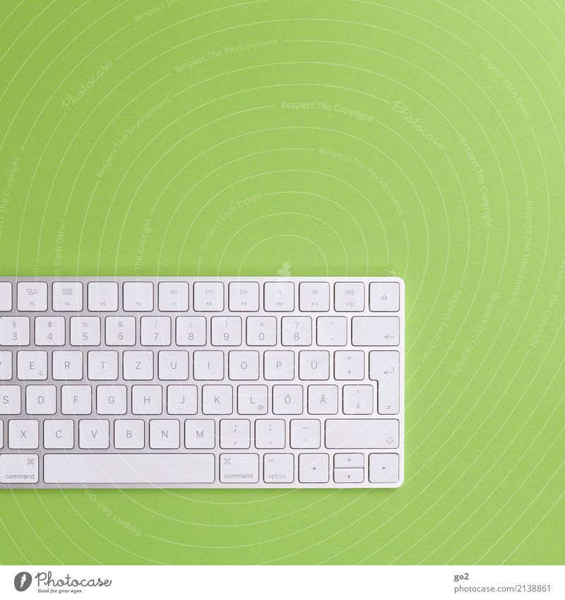 Keyboard on green background School Academic studies Work and employment Profession Office work Workplace Economy Media industry Advertising Industry Business
