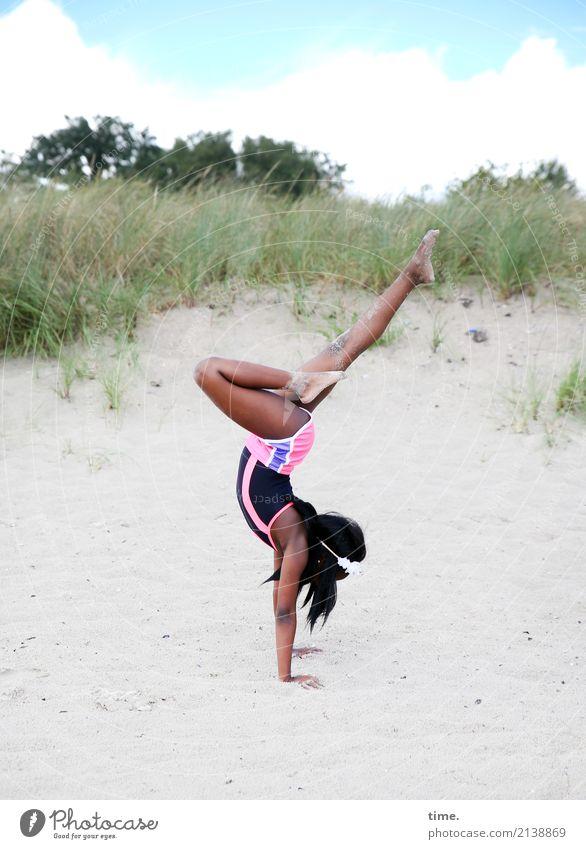 Human being Sky Joy Girl Beach Life Movement Coast Sports Feminine Health care Sand Stand Joie de vivre (Vitality) Fitness Hill