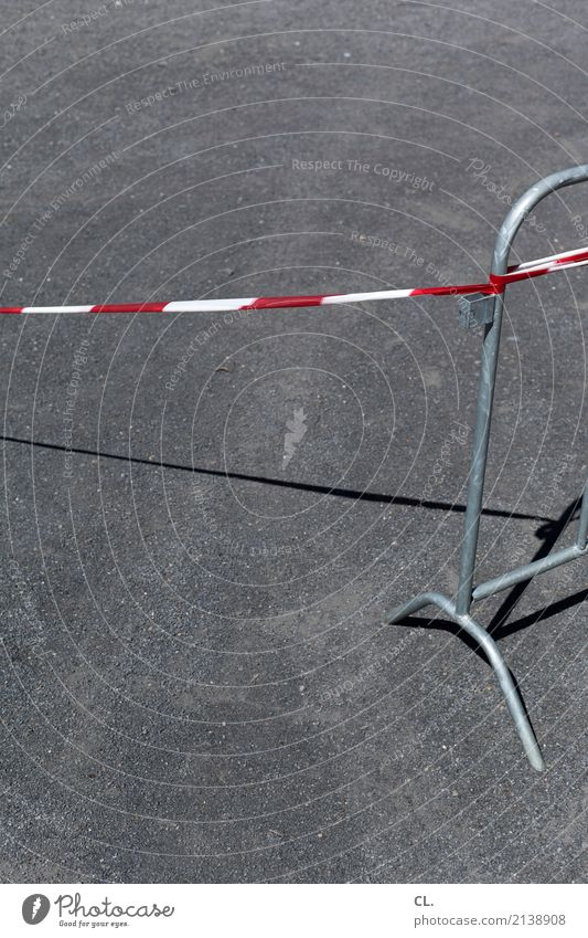 cordon Construction site Traffic infrastructure Street Lanes & trails Barrier Protective Grating Gray Red White Bans Colour photo Exterior shot Deserted