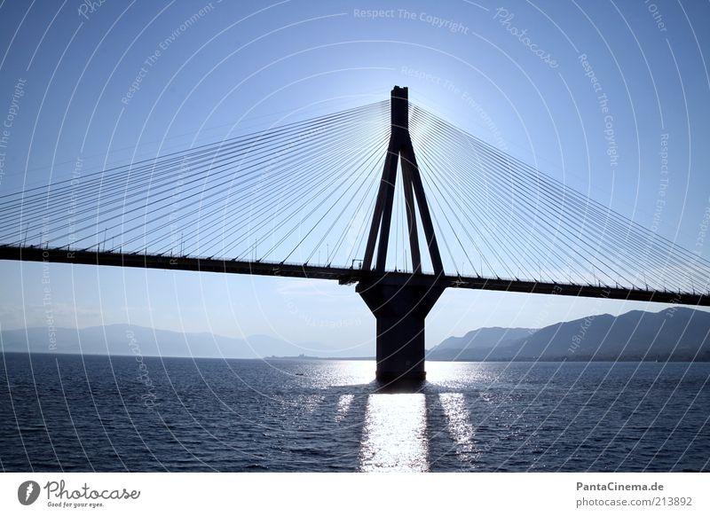 Blue Water Summer Ocean Calm Mountain Horizon Elegant Modern Large Tall Esthetic Future Force Bridge Hill